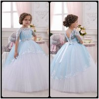 Wholesale White Baby Frocks - 2016 Light Blue Princess Sheer Lace Flower Girl Dresses Pageant Baby Party Frocks for Girl Birthday Wedding Party Ball Gown
