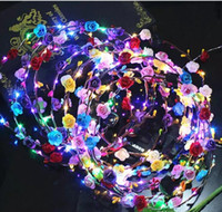 Wholesale Rave Hair - 2017 Flashing LED Glow Flower Crown Headbands Light Party Rave Floral Hair Garland Wreath Wedding Flower Girl Headpiece decor