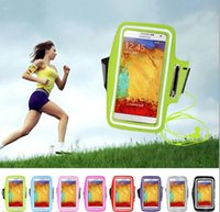 Wholesale Galaxy Note Ii Waterproof Cases - Wholesale-New Waterproof Bag Sport Running Workout Gym Armband Pouch Cover Case for Samsung Galaxy Note 2 3 4 II III IV Cell Mobile Phone