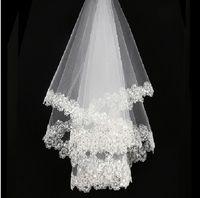 long perlé achat en gros de-Vente chaude blanc ivoire mariée voiles paillettes perles tulle court mariage voiles en stock n °: 53