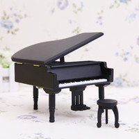 Wholesale Inlaid Wooden Boxes - New Arrivals Wooden Piano Music Boxes Black Music Boxes with City of Sky