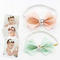 Wholesale Wholesale Korean Baby Headbands - Baby Headbands Head Bands Infants Childrens Accessories Headbands For Girls 2015 Korean Bow Headband Baby Hair Accessories Hair Bands C6332