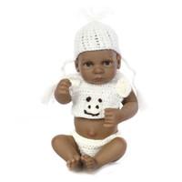 Wholesale lifelike dolls china - DressyOnly Mini Cute New Born Bath Dolls Handmade Black Lifelike Baby Doll 10.6 inch 27 cm Baby Simulation Toys D59