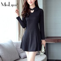 Koreanisches Peter Pan Kleid Kaufen -Heißer verkauf xxxl frauen winter dress korean fashion fleece peter pan kragen langarm damen große größen tunika druck polka dot dress