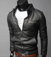 Wholesale Foreign Long Sleeve - Men's foreign trade wholesale motorcycle leather men's 2015 Winter new Korean Slim men's leather jacket leather jacket coat .@s009