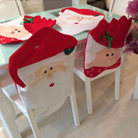 Wholesale Cheap Indoor Chairs - Christmas Chair Back Covers Santa Clause Snowmen Red Hat Style Best Christmas Decorations for Christmas Dinner and Party Cheap Wholesale