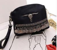 Wholesale Punk Tassel Fringe Handbag - Punk Style Fringe Handbags Black Leather Boho Bag Small Clutch Tassel Women Hand Bags Stud Evening Bags Ethnic Coin Purses