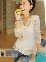 Wholesale Wholesale White Button Ups - Sexy Women's White Lace Blouses Cotton Jacquard Blouse Lace Tops with Shoulder Pad Cover-up Hollow Out Blouse Ladies Hot Fashion 6430 10pcs