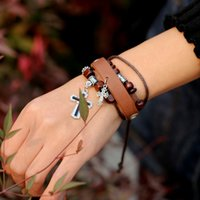 Wholesale Stainless Stell Charms - Bohemia magnetic leather bracelet Natural Leather Bracelets For Women With Charms Stanless Stell Cross Wood Beads B01353B CF