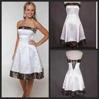 Wholesale Strapless Knee Line Dresses - Short Camo Wedding Dresses 2016 Strapless Knee Length Cheap Bridal Gowns A Line White Satin