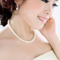 Wholesale Imitation Pearl Beads Strings - Elegant Lady String Glass Pearl Necklace Women Bead Necklace Beaded Necklaces Pendants Necklaces Imitation pearl Short Chain Chocker Jewelry