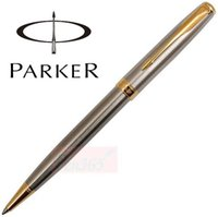 Wholesale Silver Pen Holders - Free Shipping Fashion Design High Quality Parker Sonnet Ballpoint Pen Silver Pen Holder With Golden Clip Metal Writing Pen