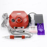 Wholesale Nail Polisher Machine - Wholesale-Professional electric nail drill file machine manicure pedicure bits kit with foot pedal Nail polisher 30000RPM Free Shipping