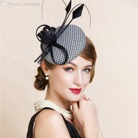 Wholesale White Fascinator Pillbox Hat - Wholesale-Black And White England Style Fascinator Hair Pillbox Hat Bowknot Feather Veil Cocktail Party Wedding Socialite Linen hat