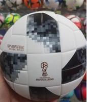 Wholesale Outdoor Soccer Balls - 2018 New A++ Russia World Cup PU Soccer Ball Official Size 5 Football Goal League Ball Outdoor Sport Training Balls futbol voetbal bola