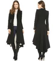 Wholesale Turn Down Overcoat - 2016 New victorian Brand Fashion Turn-down Collar Slim X-Long Trench Coat Winter Woollen Coat Women Overcoat Dovetail Plus Size haoduoyi