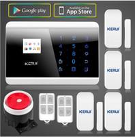 teclados de sistema de seguridad para el hogar al por mayor-KERUI Sistema de alarma de seguridad para el hogar Android o IOS APP GSMPSTN Sistema de alarma GSM doble red Teclado táctil TFT a color Pantalla 4 voces