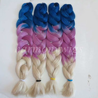 Wholesale blonde synthetic hair weave online - Kanekalon Jumbo Braid Hair Senegalese Twist inch g Blue Purple Blonde Ombre three tone color xpression synthetic Braiding