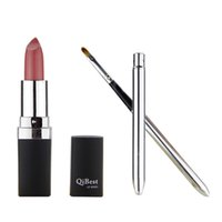Wholesale purple lipstick makeup for sale - Qibest Lipsticks with Mini lipbrush Makeup Long lasting Lipstick Purple Pink Red Vampire Waterproof Lip Gloss colors