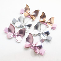 15 Pairs / Lote, Faux Leather Butterfly Hair Clips, Meninas Birthday Party Gift Formeiras de cabelo Solid Headwear Children Hairpins