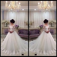 Wholesale Wedding Ball Gowns Scalloped - 2016 New Arrival Scalloped Neckline Long Lace Sleeves Ball Gown Crystal Belt Bridal Wedding Dresses Vestido De Noiva 2015
