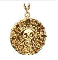 Wholesale Wholesale Caribbean Gifts - Movie Jewelry necklace Pirates of the Caribbean Aztec Skull Pendant Exaggerated Jewelry Men Vintage Necklace Aztec gold Free Shipping