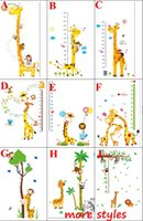 Wholesale Grow Measure - Wall Stickers for Height Measure Giraffe Elephant Kids Growth Chart Sticker For Kids Rooms   DIY Home Decoration Animal Tree Grow Up Sticker
