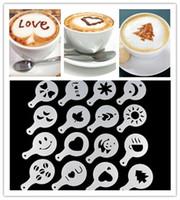 Wholesale Stencil Machine Wholesale - 2015 16pcs set Coffee Machine Coffee Tool Mold Coffee Art Barista Stencils Template Strew Pad Duster Spray Print Mold Coffee Tools