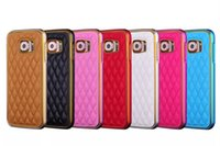 Hybrid 2in1 Sheep Skin Leather Back Cover Alloy Aluminium Metal PC Bumper Frame Case Para iphone 6 plus iphone6 ​​Samsung Galaxy S6 edge