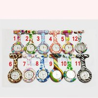 Wholesale Cheap Nurses Watch - 2015 hot Prints Colorful Pocket Nurse Watch Silicone Band FOB Watches 13 patterns Mixed fast ship cheap price