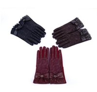 Wholesale Leather Lace Gloves - Women's Lace Gloves Touch Screen Fashion Warm Leather Winter Thicken Ladies Glove Elegant Winter PU Leather Gloves for Women