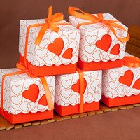 Wholesale Orange Wedding Favor Boxes - on sale Love candy box Hollow heart favor Holders Packing Square lace gift package boxes for birthday Christmas Wedding supplies 240151