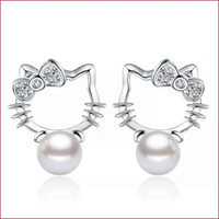 Wholesale Kitty Girl Vintage - 925 sterling silver items jewelry pearl stud earrings hello kitty shaped vintage wedding girl ethnic charms