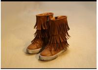 Wholesale Kids Zipper Ties - Fashion Girls Autumn Winter Tassel Boots Children Leather Martin Boot Kids Warm Thicken Shoes Cute Girl Zipper Casual Shoes 3 Colors Retail