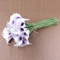 Wholesale Wholesale Calla Lily Silk Flowers - wedding bouquet flowers Calla Lily Bridal Wedding Bouquet Latex Real Touch Flower Bouquets (20pcs (White Flower+purple Core)silk wedding flo