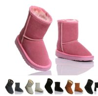 Wholesale Girls Brown Suede Boots - 2015 XMAS GIFT Australia brand Snow boots boy girl real cowhide boots, waterp roof warm children's boots Fashionable boots for Kids