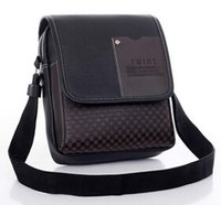 Wholesale Male Handbags Casual - Hot vintage Men's bag shoulder crossbody bags for men messenger bag men leather Pu plaid small male handbags black 2018 DH4834