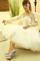 Wholesale Myriam Fares Beach - Myriam Fares Arabic Tea-length Wedding Dresses 2015 Summer Beach wedding Party Dresses A-line Lace Sheer Long Sleeves Little White Dresses