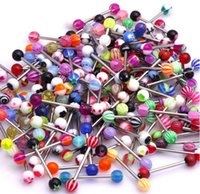Wholesale barbell navel rings - Wholesale Lot of 110PC 14G Mixed Tongue Rings Barbells Body Piercing Jewelry