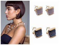 Wholesale Obsidian Earrings - New arrival brand name brass material Nature gemstone obsidian style stud earrings Women jewelry gift free shipping PS5752