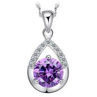 Wholesale pear shaped women - Top Quality Pear Shape Teardrop Cubic Zirconia Crystal Zircon CZ Diamond Pendant Necklace for Women Water Drop Pendant Necklace