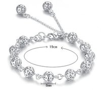 Wholesale Cheap European Charm Beads - 100% 925 Sterling Silver Bangle Bracelet Hollow Out Balls Best Christmas Gifts Wedding Party Accessories Fashion Bridal Jewelry Cheap
