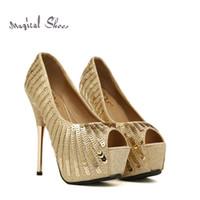 Wholesale High Heel Shoes Gold Paillette - Wholesale-Shiny Gold Sequined Ladies High Heels 2015 Summer Open Toe Women Pumps Platforms Red Buttom Wedding Gold Paillette Shoes