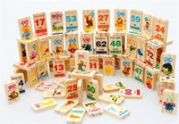Wholesale Toy Domino Pieces - Baby Toys Baby Toys Hot Kids 100 Pieces of Wooden Mathematical and Fruit Animal Characters Card Children Domino Blocks Intelligence Toys