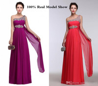 Wholesale Grape Evening Dresses - Real Picture Grape Purple Peach Long Elegant Evening Dresses Crystal Beaded Sexy One Shoulder Pink Occasion Dresses Cheap Slim Prom Dresses