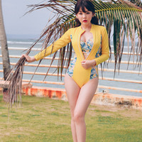Wholesale Korean Beachwear - 2018 new fashion korean hot sexy women long sleeve rash guard anti-uv beachwear two pieces monokini swimwear