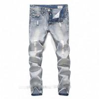 çocuk için açık renkli kot pantolon toptan satış-Erkekler için yüksek kalite açık mavi renk robin kot yırtık kot erkekler boyutu 42 40 38 marka tasarım hip hop kot erkek pantolon