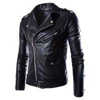 veste de printemps noir pour les hommes achat en gros de-Mode homme veste en cuir PU Printemps Automne Nouveau style britannique Veste en cuir veste moto Manteau Homme Noir Marron M-3XL