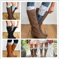 Barato Punhos Dhgate-Dhgate Stretch Lace Boot Cuffs 13 cores Mulheres de alta qualidade Flower Leg Warmers Lace Trim Toppers Socks Presentes de Natal