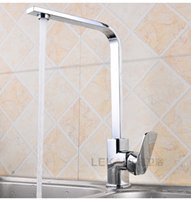 Wholesale Brushed Nickel Pipe - 2017 The new building materials sanitary ware kitchen faucet square pipe cold hot sink tap wire single hole wholesale